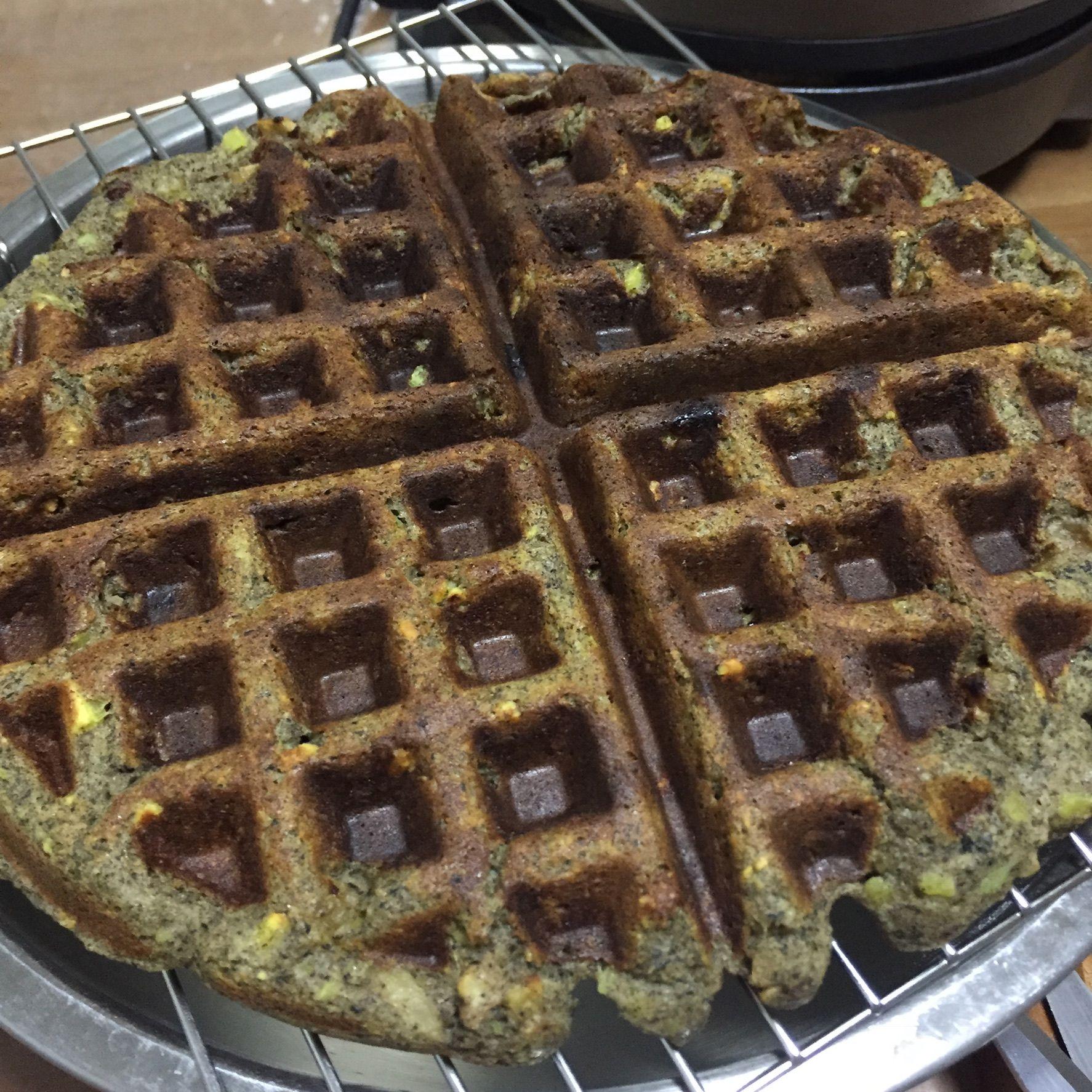 Mashed Sweet Potato waffle - Mashed sweet potato 350g + buckwheat flour 40g + black sesame powder 20g + ground oats 30g + APF 40g + yogurt 200g + walnut 30g + chopped red dates 4 + dried raisins 40g + salt 1/4tsp + 1 egg