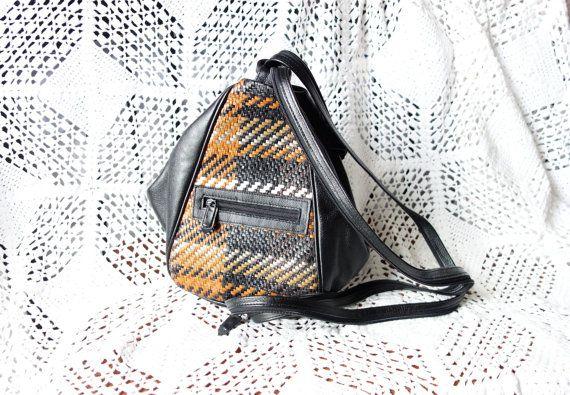 Vintage Black Multi Color WOVEN  Supple Leather Bucket Crossbody Bag Backpack