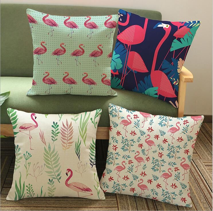 Linen Cotton Northern Europe Flamingos Cushion Cover Homedecor Enchanting Decorating Pillow Cases