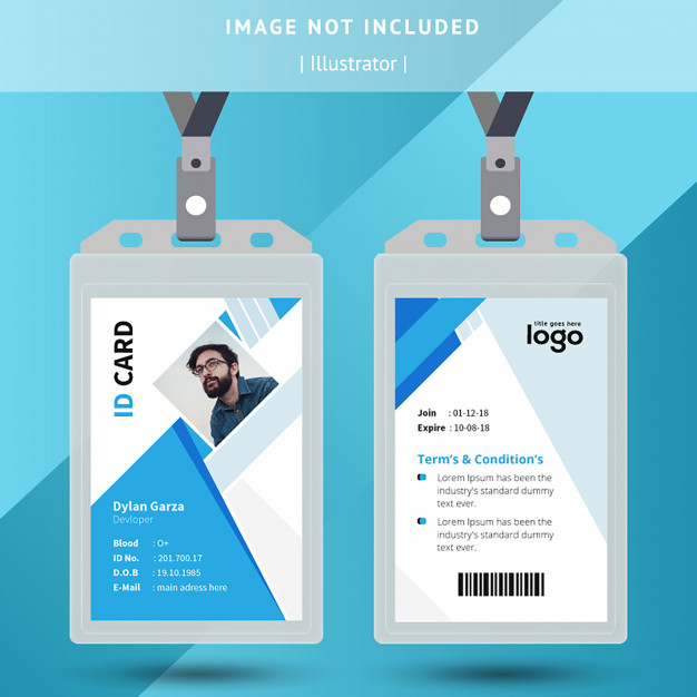 Blue And White Office Id Card Identity Card Design Graphic Design Business Card Cool Business Cards