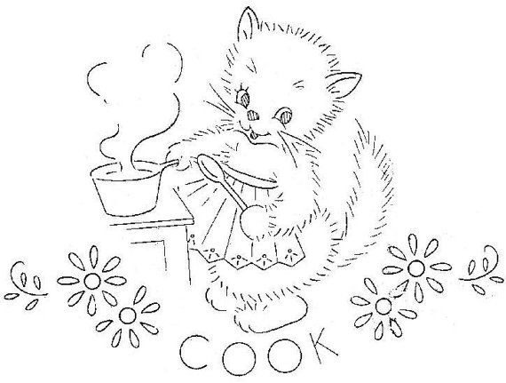 Digital Vintage Hand Embroidery PATTERN Seven Busy Kittens