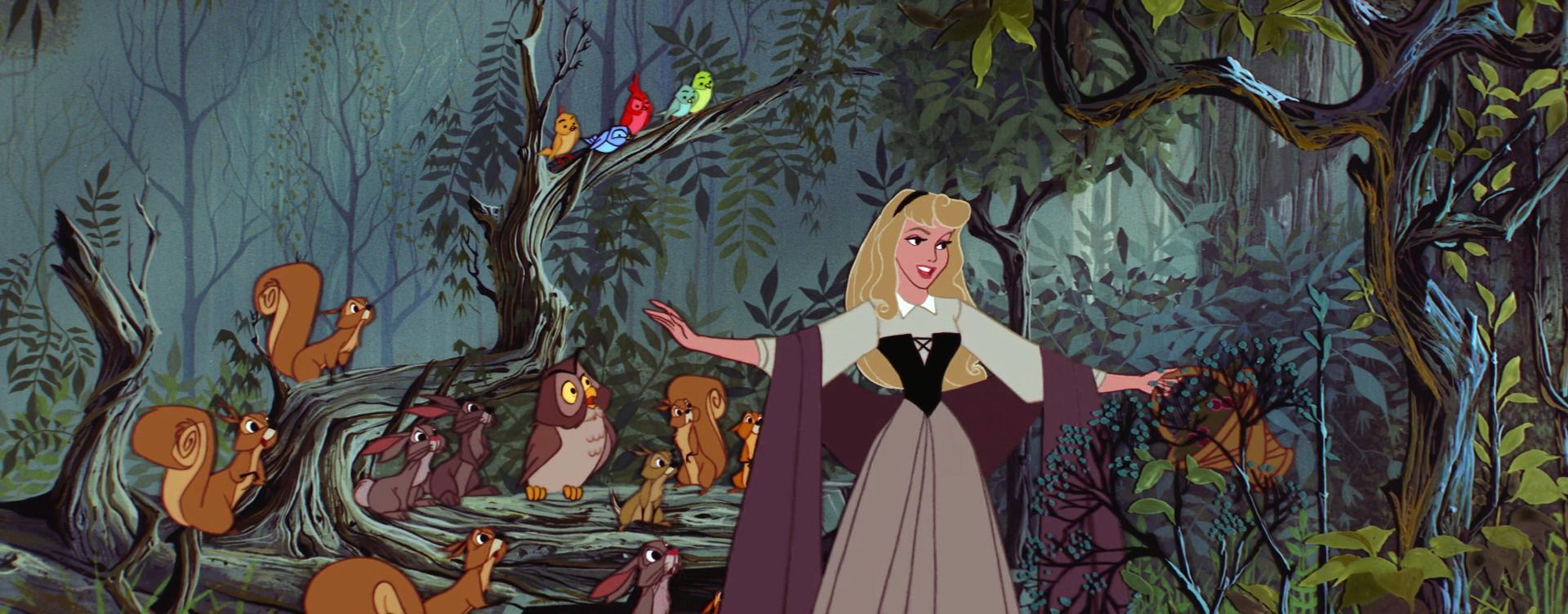 "Disney ""Sleeping Beauty"" 1959 Briar Rose with the animals in the forest"