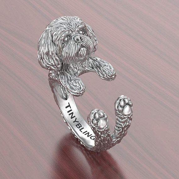 Shih Tzu Breed Jewelry Cuddle Wrap Ring