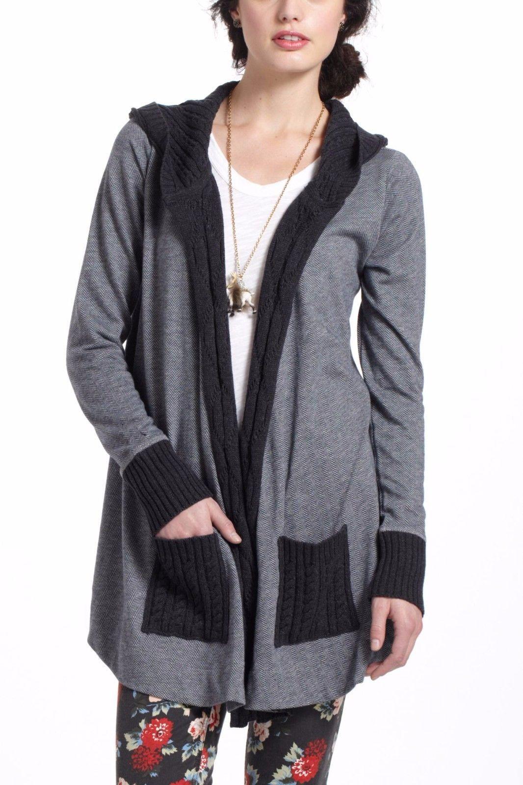 Anthropologie Sweater VANESSA VIRGINIA MIXED HERRINGBONE CARDIGAN ...