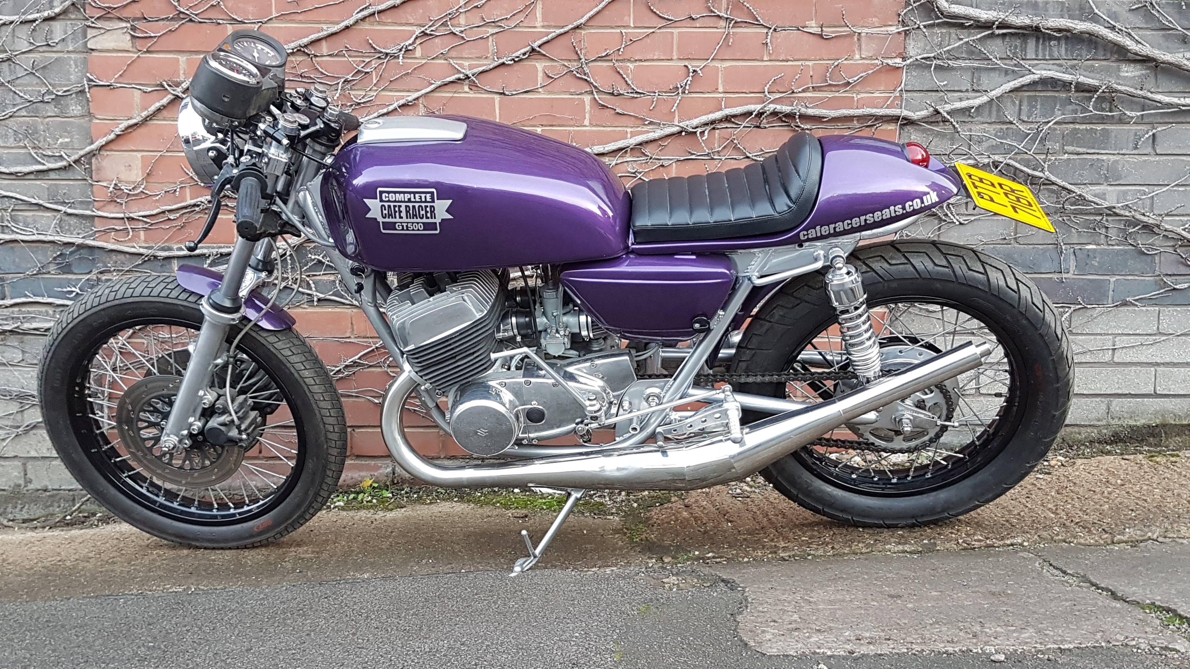 1975 suzuki t500 finished in purple suzuki cafe racer