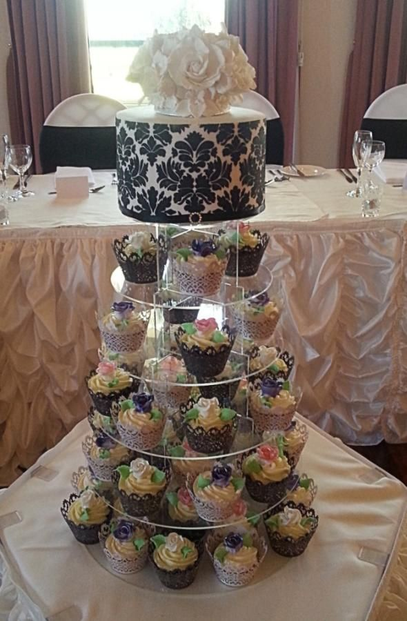 Simple wedding cake and cupcakes - Cake by Galyna Harb