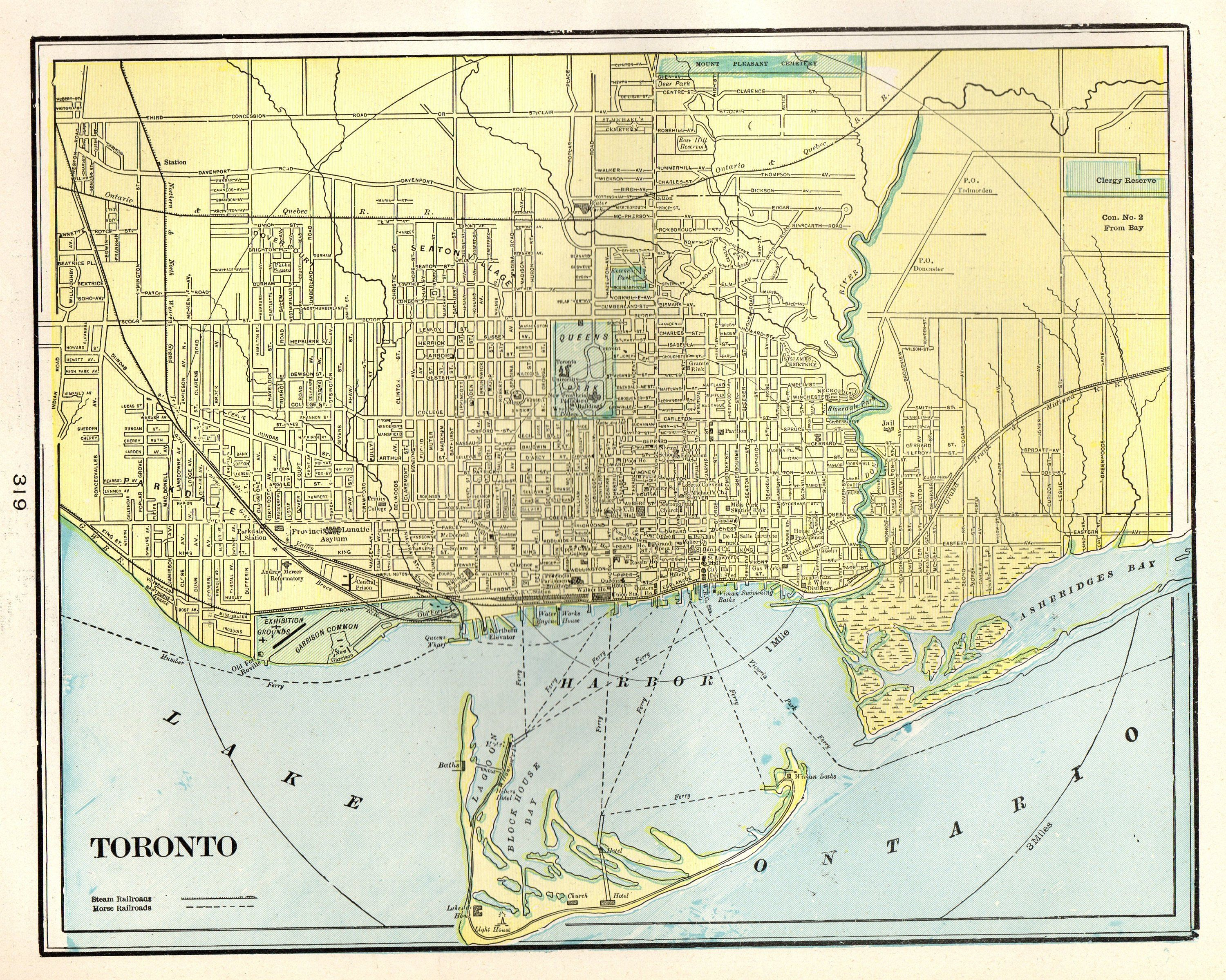 1901 Antique TORONTO CANADA Map Vintage Map of Toronto City Gallery ...