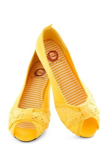 Shoes Of The Day: ModCloth Yellow Saffron Peep-Toe Flats