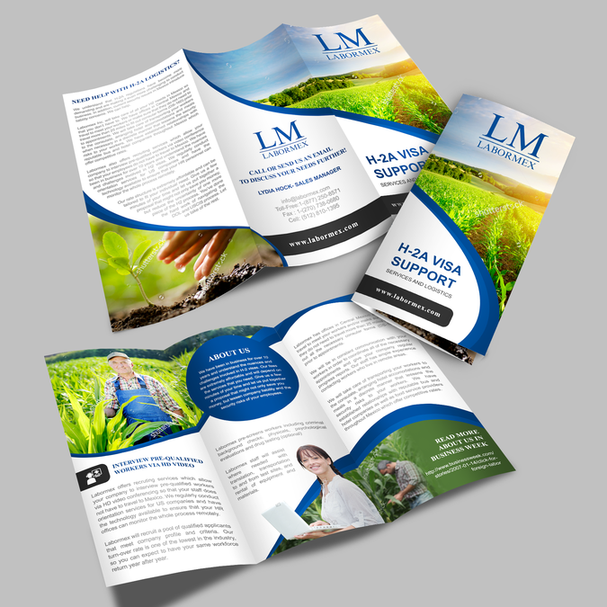 Tri-fold brochure for agriculture-immigration logistics company by