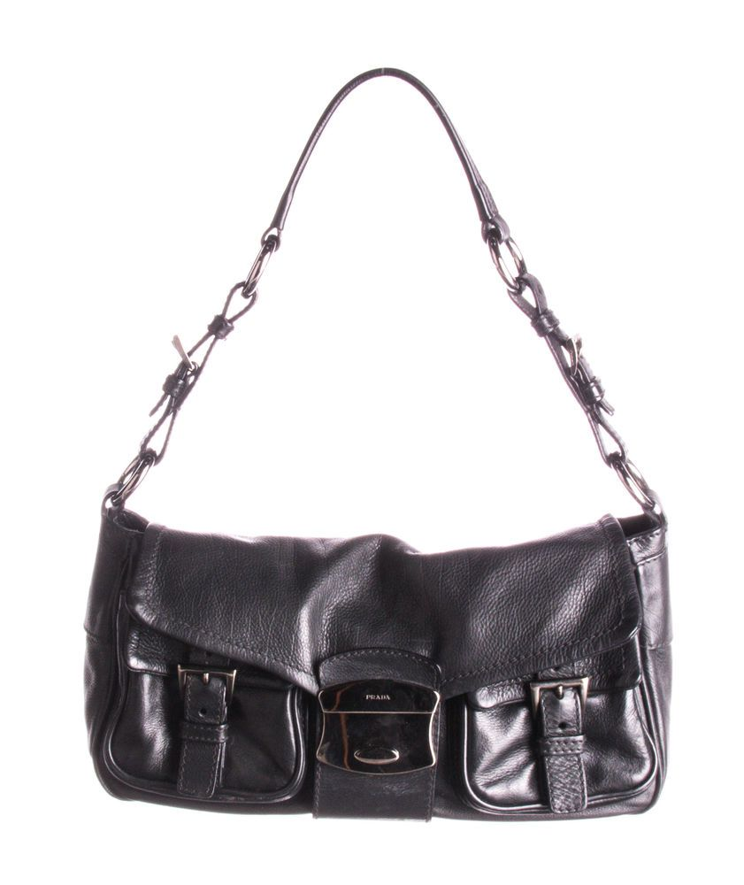PRADA Black Leather Shoulder Bag  fashion  clothing  shoes  accessories   womensbagshandbags (ebay link) be8061a057