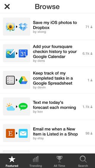 IFTTT app UI Pinterest App - scan to spreadsheet app iphone