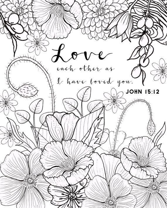 John 1512 Coloring Page Love Adult Flower Scripture