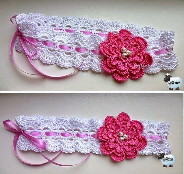 Vincha tejida al crochet con flor ganchillo pinterest flor ganchillo y vestidos tejidos Adornos a ganchillo