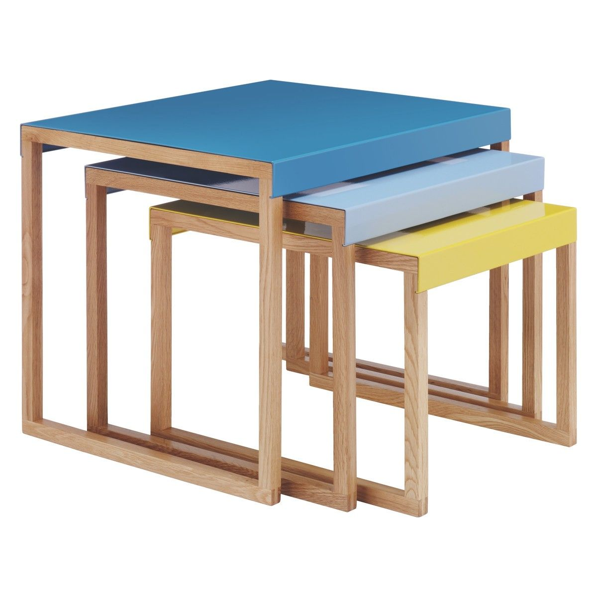 KILO Blue and yellow metal nest of 3 side tables Nest Metals and