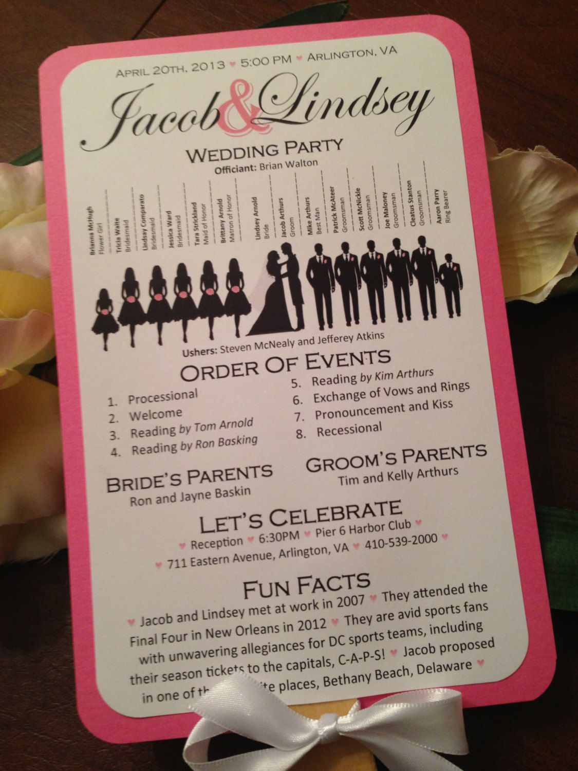 Silhouette Wedding Program Vertical Layout Stacked Names