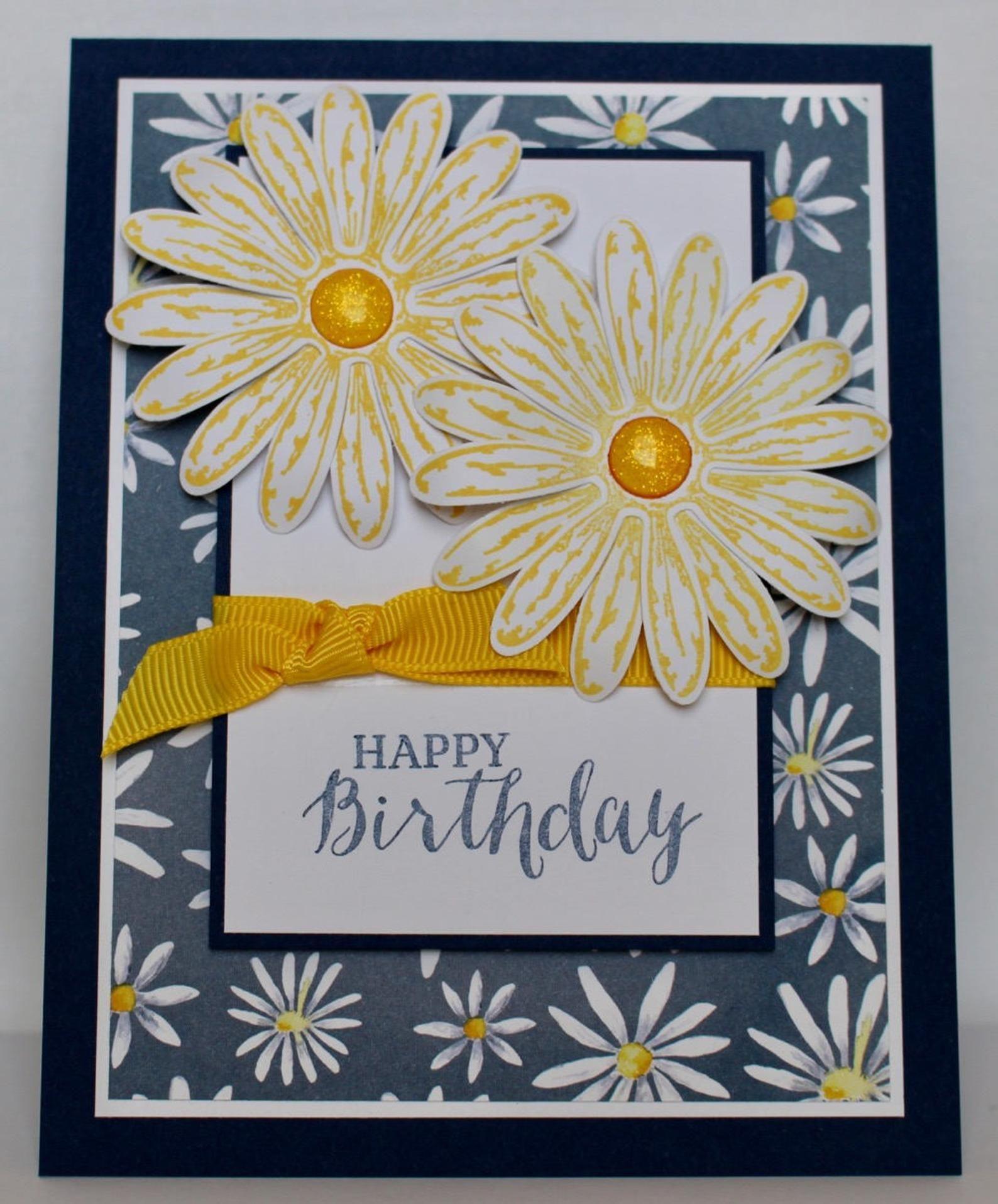 Daisy duo birthday card with yellow ribbon etsy daisy