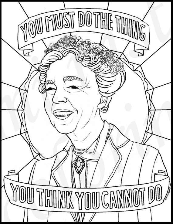 Eleanor Roosevelt, Portraits, Coloring Pages for Adults