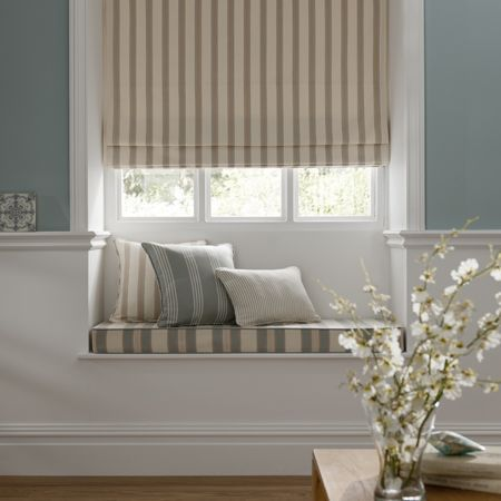 Window Seat Cushions And Roman Blind In Cotton Ticking