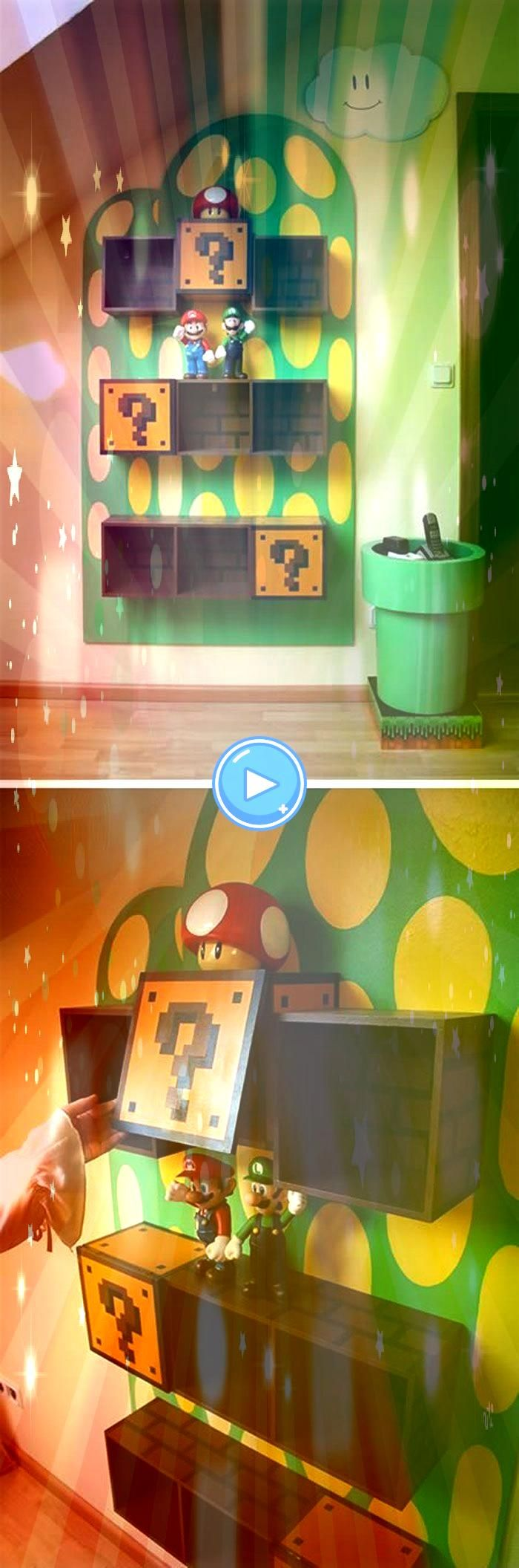 Itsa Mario I should put this in the upstairs bathroom Waterproof Decorative Wall Sticker 21 Truly Awesome Video Game Room Ideas Make the perfect gaming paradise in your...