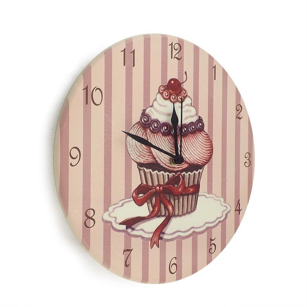 Relógio de Parede Cupcake Cereja em Madeira MDF - 28 cm   Carro de Mola - Decorar faz bem.