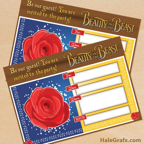 FREE Printable Beauty and the Beast Birthday Invitation – Beauty and the Beast Party Invitations