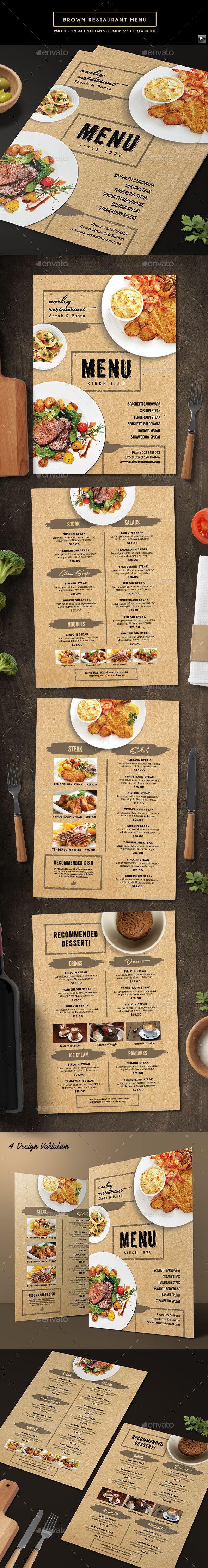 Brown Restaurant Menu | Restaurante, Menus restaurantes y Marisqueria
