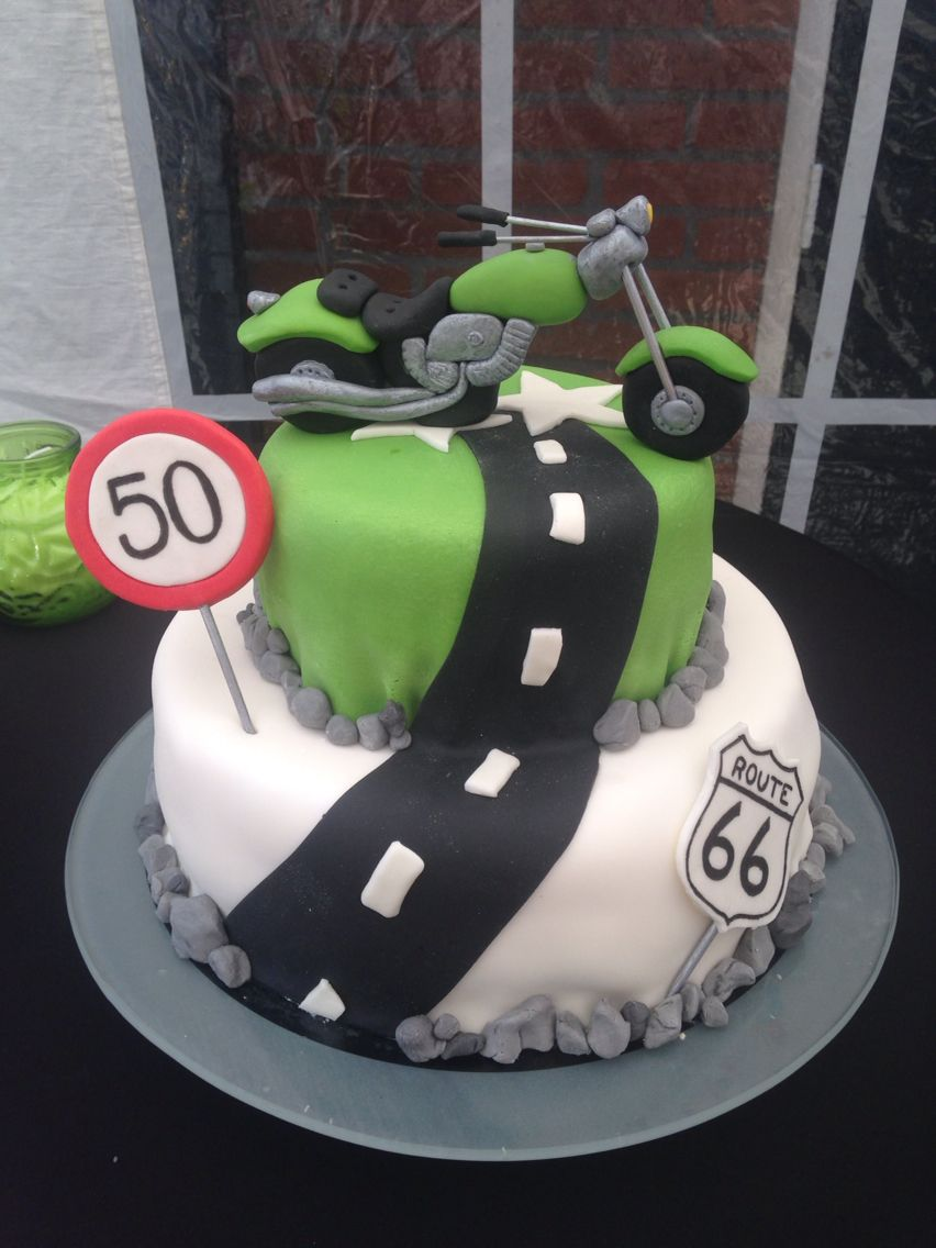 Motorcycle en biker cake route 66 and age 50 PJ Pinterest