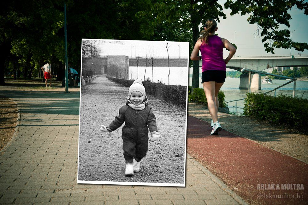 A running path on Margaret Island in the middle of Budapest's Danube River, in 1980 and today