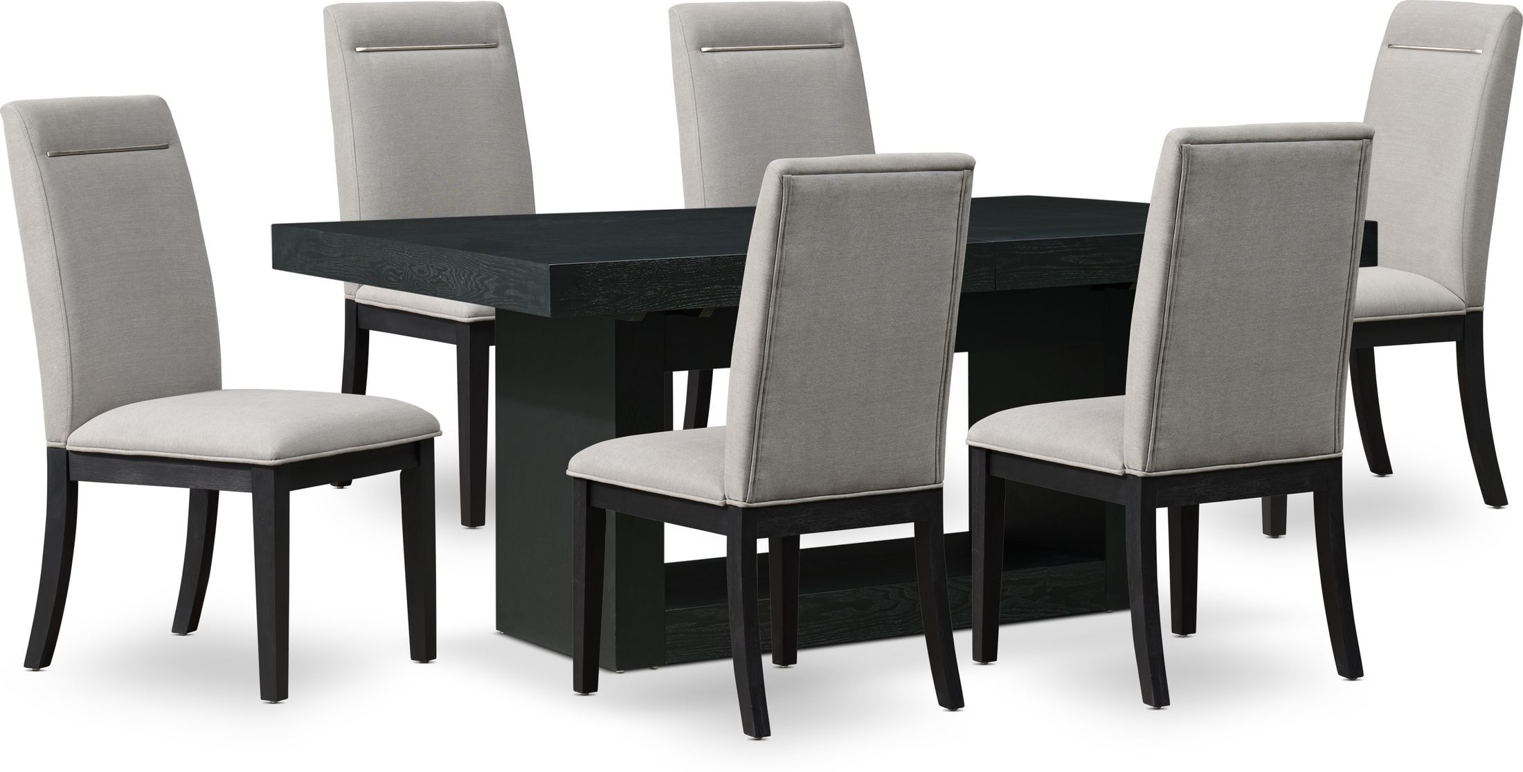 Banks Dining Table With 6 Chairs In 2021 Black Dining Room Contemporary Dining Table Contemporary Kitchen Tables