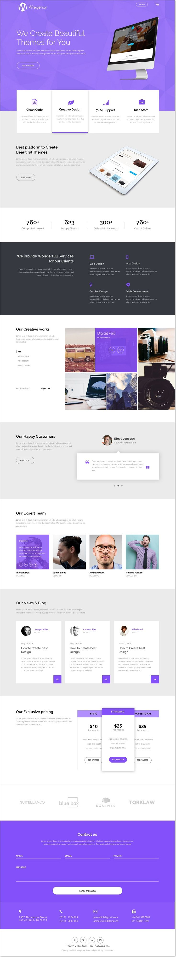 Wregency Multipurpose One Page Psd Template | Intereses
