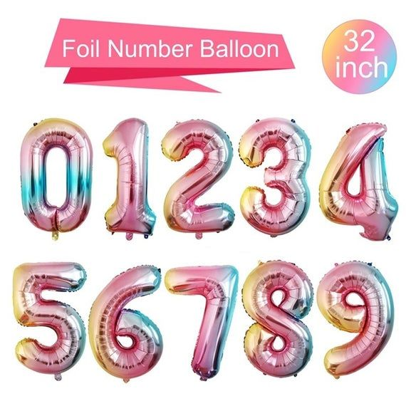 """32/""""  Giant Foil Number Balloons Rainbow Color Birthday Age Party Wedding"""