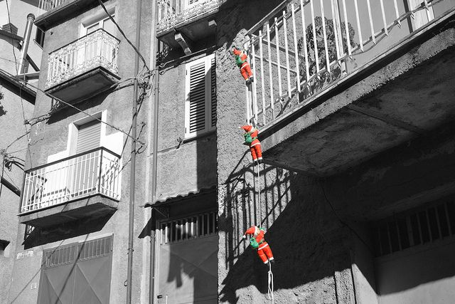 A gang of Santa's making a visit to Conflenti, Calabria Italy.   (La banda dei babbi natali.)
