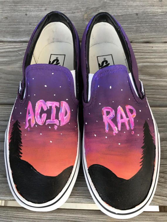b02a05e5b80e8f Black Canvas Shoes · Chance The Rapper Acid Rap Painted Shoes Painted Vans