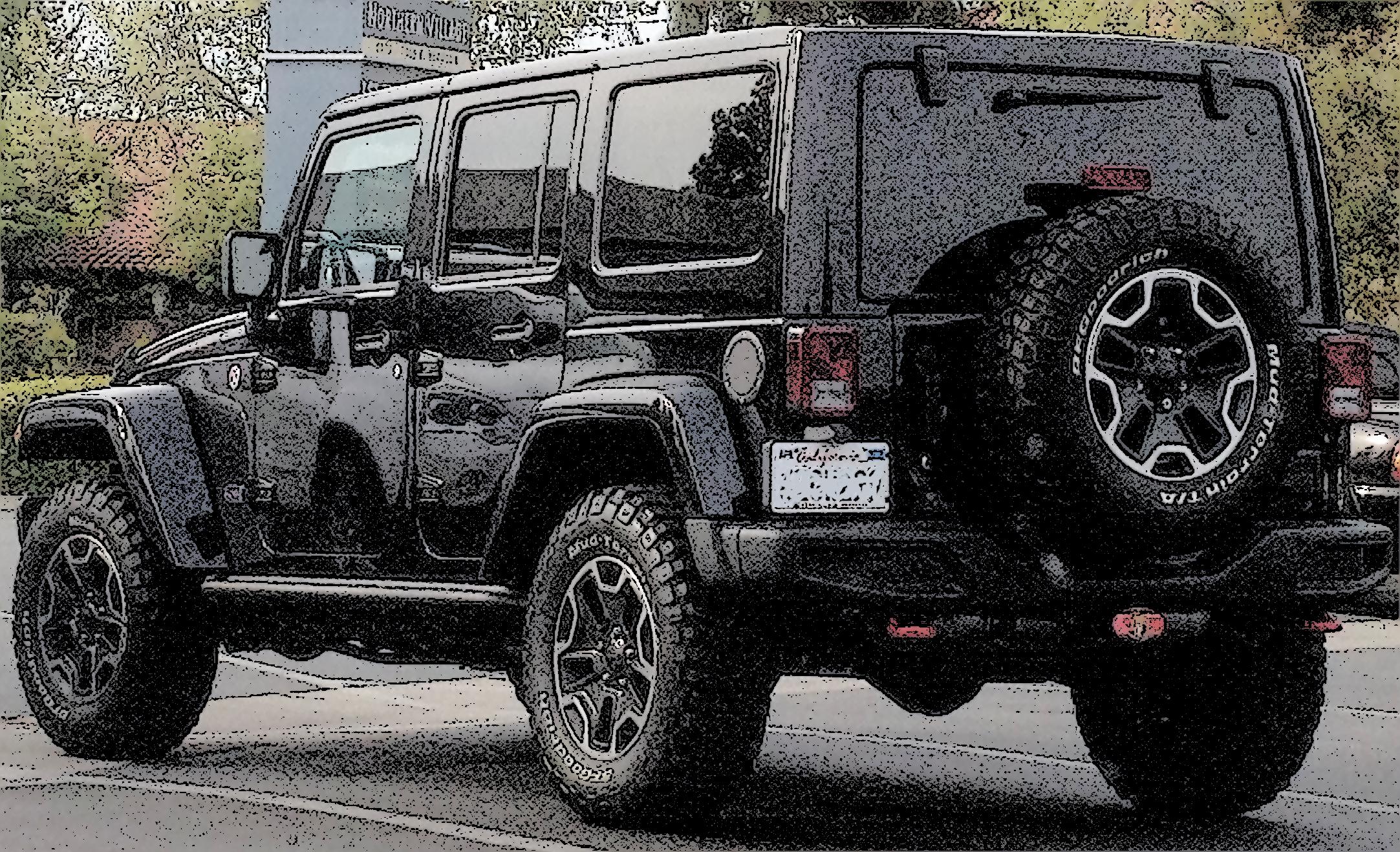 Ink Sketch Effect On A Black Jeep Wrangler Dream Cars Black