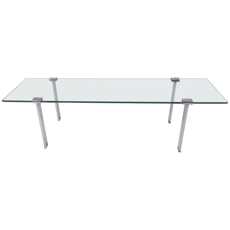 Vintage Modern Chrome And Glass Cocktail Table Mid Century Coffee Table Chrome Modern Coffee Tables