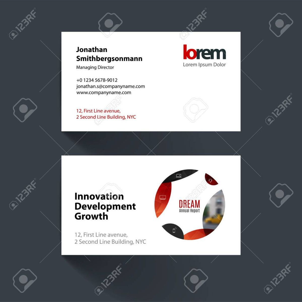 Vector Business Card Template With Red Circle Soft Shapes Round For It Bus Vector Business Card Business Cards Vector Templates Business Card Template Word