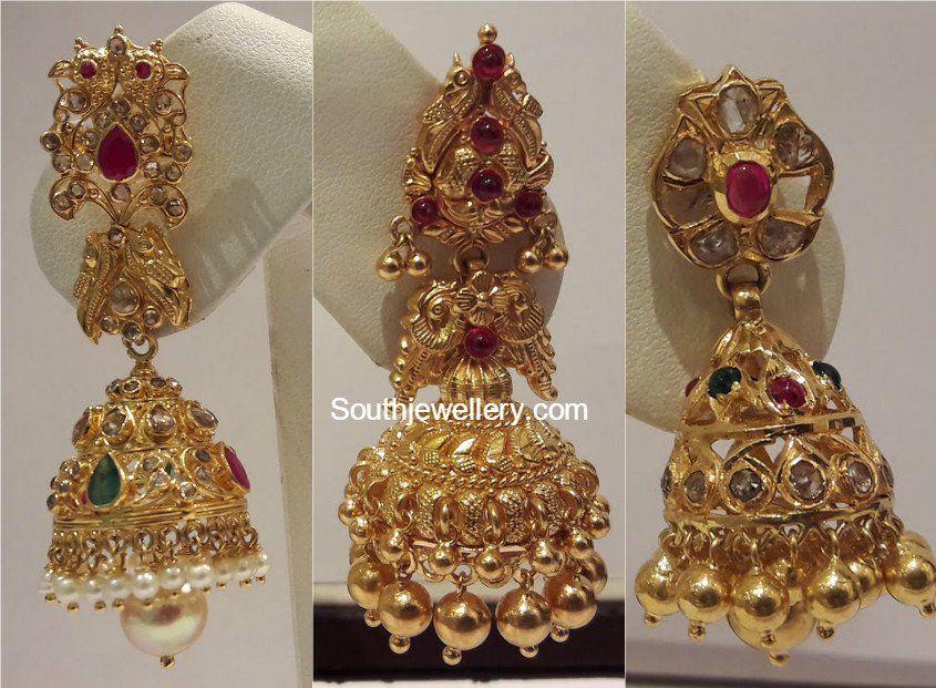 Gold Jhumka Designs photo | ear rings | Pinterest | Gold, Ear ...