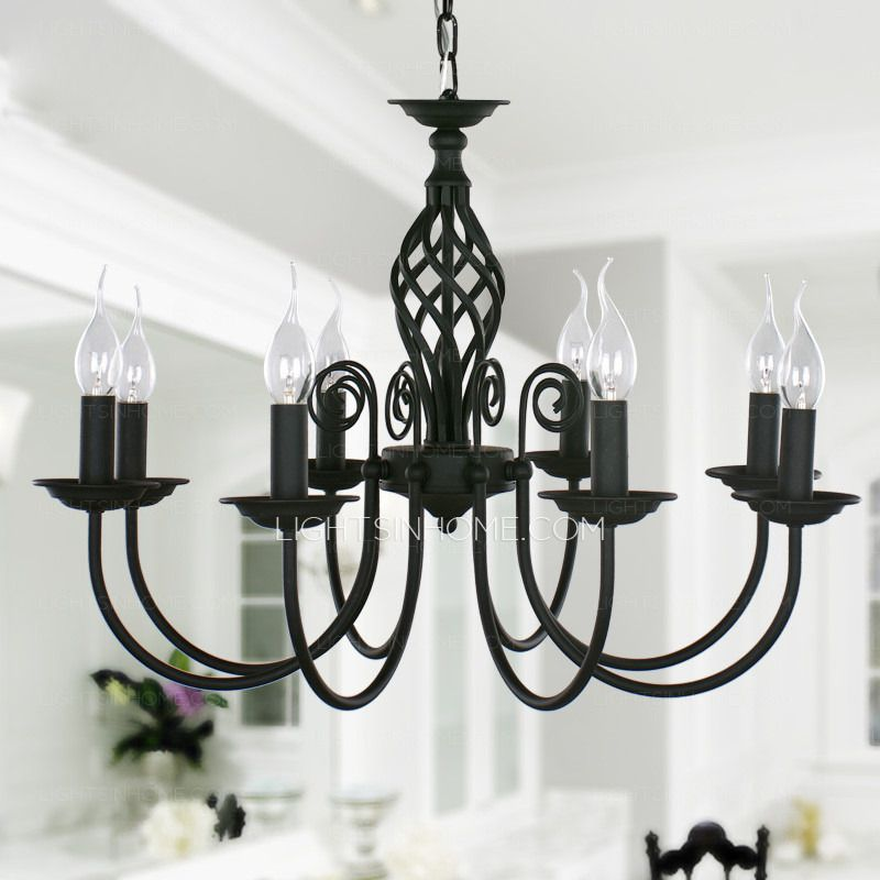 Black Fixture 8 Light Wrought Iron Material Chandeliers 275 Diameter Dining Room