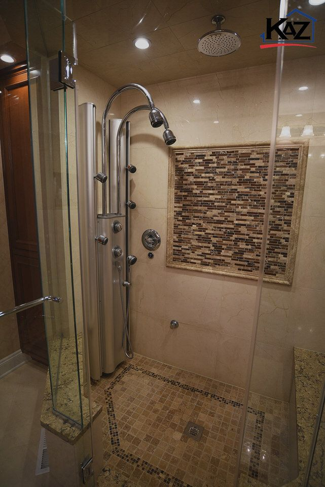 Steam Shower in Bathroom by The Kaz Companies. Shower Walls are ...