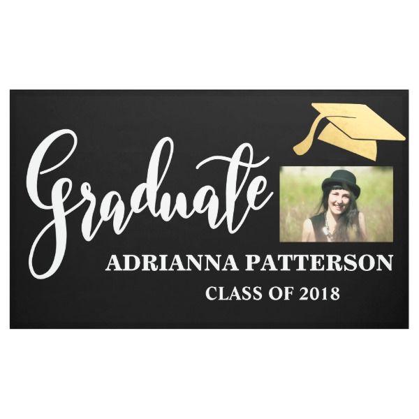 gold graduate hat handwritten graduate photo banner graduation