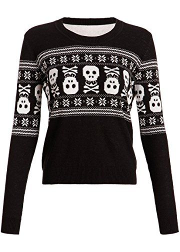 Womens Holiday Inspired Skull Ugly Christmas Sweater