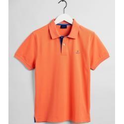 Photo of Gant Piqué Rugger Poloshirt mit Kontrastkragen (Orange) Gant