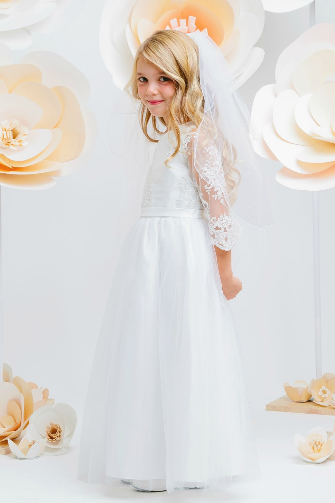 e8b98ea7a7fc SK_681 - Girls Dress Style 681 - WHITE Embroidered Lace Dress with Long  Scalloped Sleeves - White - Flower Girl Dresses - Flower Girl Dress For Less