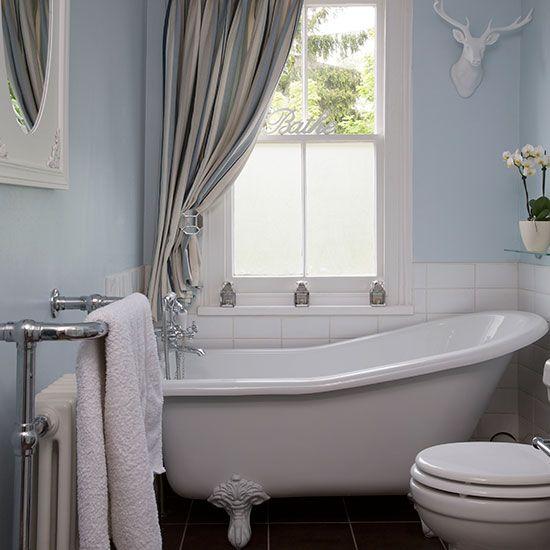 Pale Blue Bathroom With Slipper Bath Bathroom Decorating Ideal Home Traditional Bathroom Bathroom Freestanding Slipper Bath