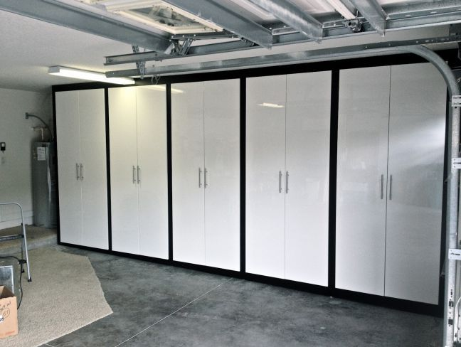 Grey Garage With Metal Plated Chair And Black White 10 Door Storage Cabinet Ikea