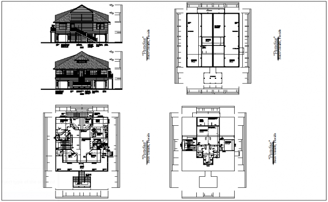 Architectural Floor Plan With Rear And Front View Dwg File Architectural Floor Plans Floor Plans Architecture