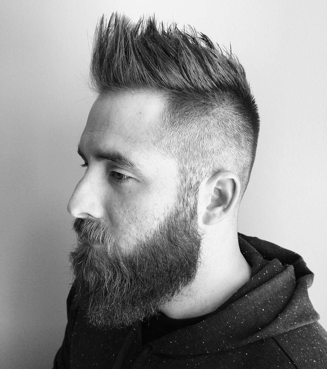 Mens haircuts high fade high textured with beard  high fade  mohawk fade  menus hair