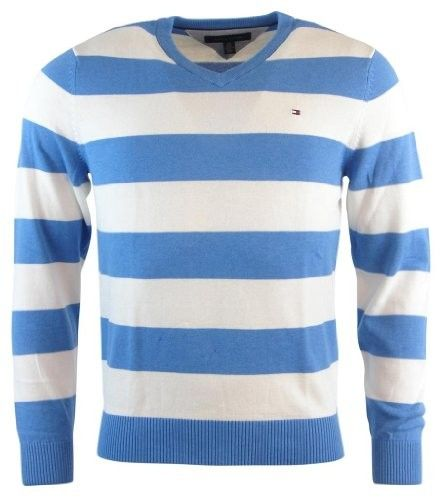 Tommy Hilfiger Mens Striped V-Neck Pullover Sweater - M - Blue/White