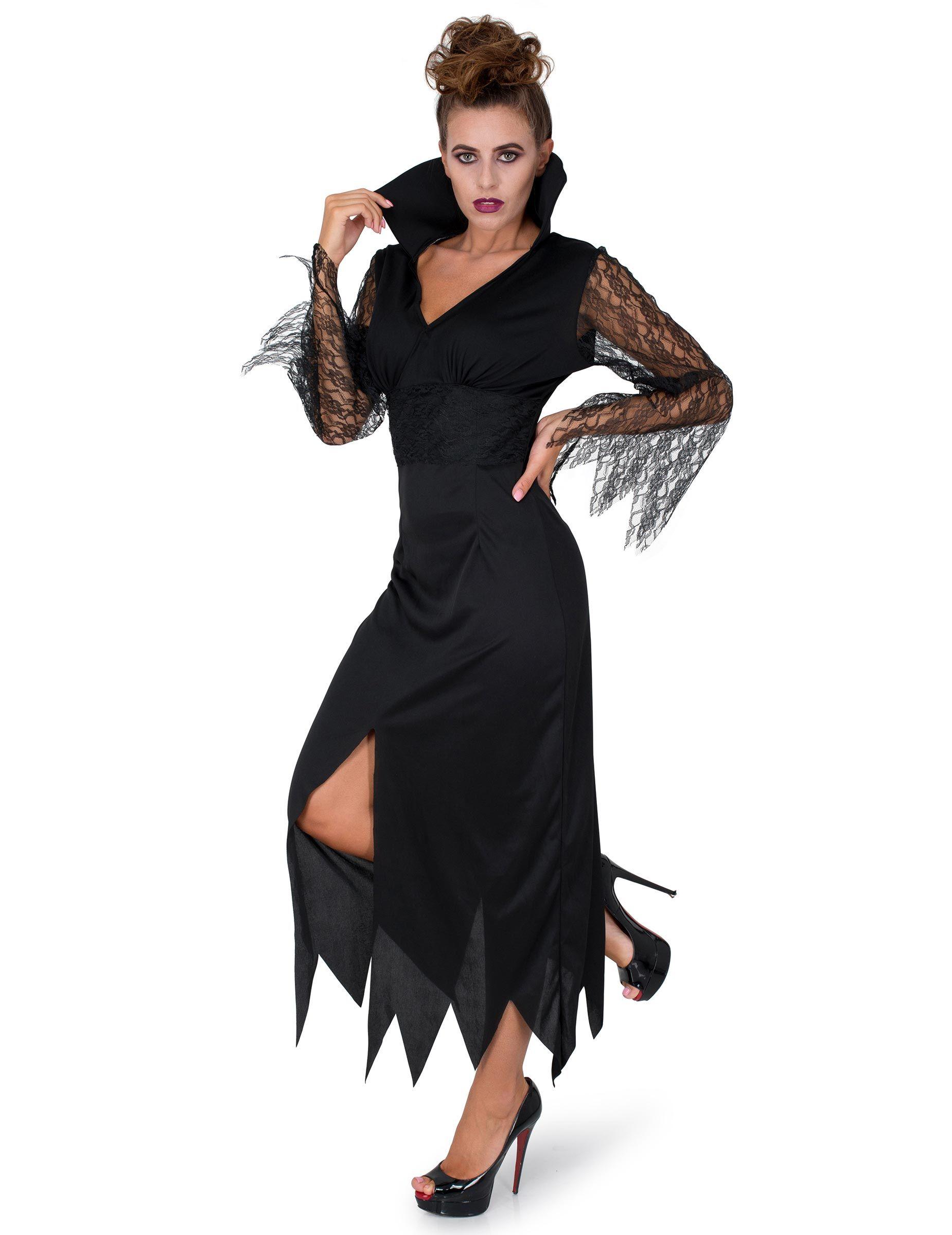 Düstere Zauberin Halloween Gothic-Kostüm für Damen schwarz ...