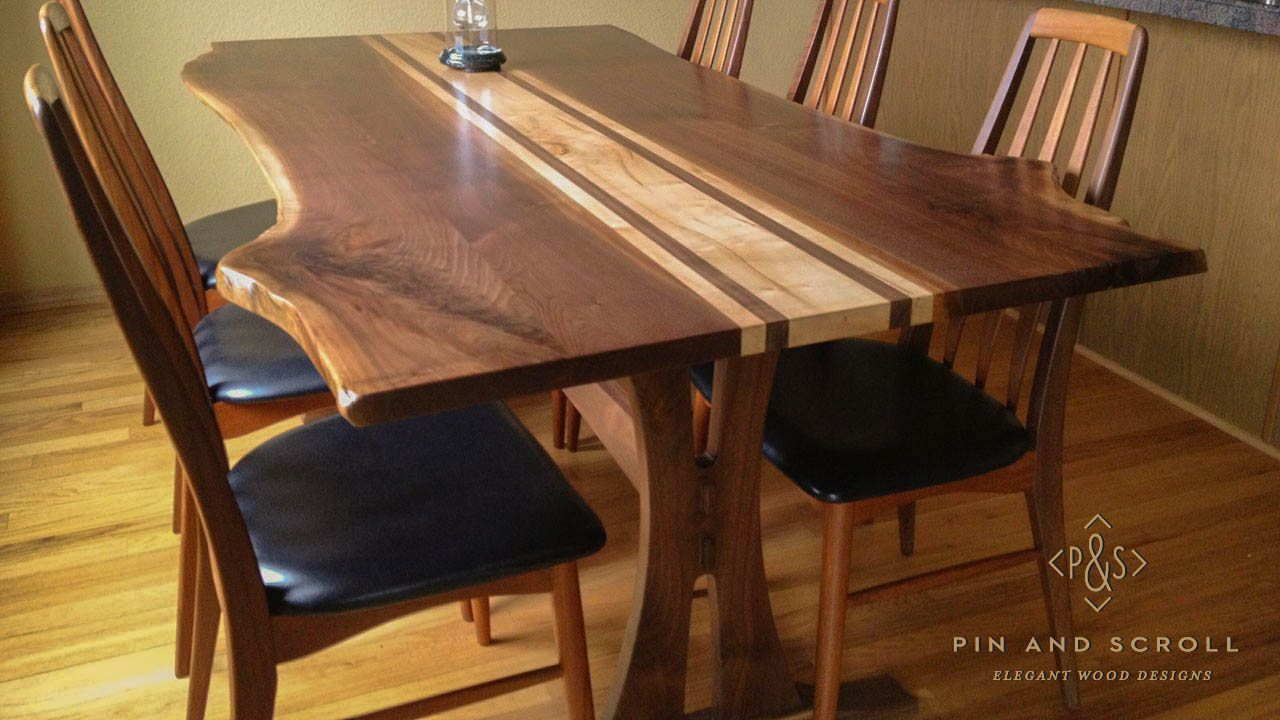 Live Edge Walnut Dining Table With Locally Harvested Silver Maple